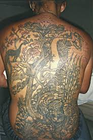 amazing full back jungle scene big magic tattoo koh phangan