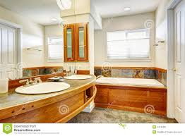 bathroom with wood and tile trim stock photo image 44192681