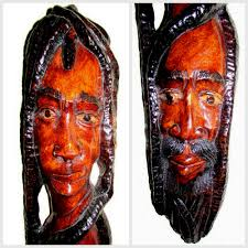 jamaican wall sculpture carved wood ethnic faces