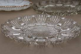 deviled egg platter vintage vintage glass egg plates for deviled eggs milk glass clear