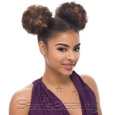 small afro puff buns hair pieces janet collection synthetic hair ponytail noir afro puff 1 2pcs