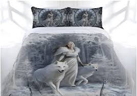wolf bed set anne stokes gothic winter guardian bed doona cover set goddess