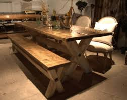 rustic dining table with bench dining table benches etsy