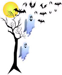halloween haunted tree with ghost and bats wall decor nostalgia