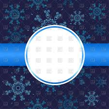 round frame on blue background with snowflakes christmas card