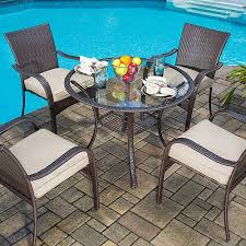 Rattan Patio Dining Set Mainstays Wicker 5 Patio Dining Set Seats 4 Walmart