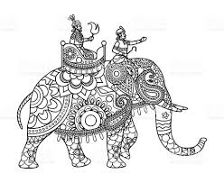 indian maharajah on elephant coloring pages stock vector art