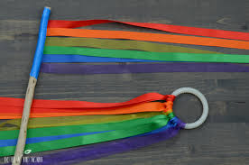 ribbon streamers rainbow ribbon wand and ring for movement activities to be a kid again