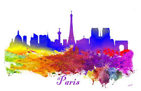paris france silhouette eiffel tower water color splash painting