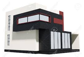 modern house exterior isolated over white 3d stock photo picture