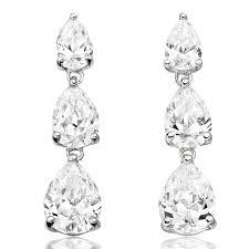cubic zirconia drop earrings 9ct white gold cubic zirconia drop earrings 0000613