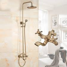 Gold Shower Faucet Antique Brass 3 Hole Carved Single Handle Bathroom Bathroom Fixtures Discount