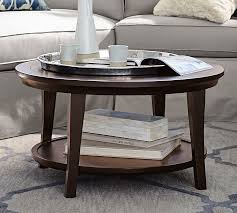 how to decorate a round coffee table for christmas metropolitan round coffee table pottery barn
