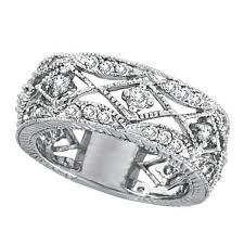 filigree engagement rings antique style diamond ring filigree band 14k white gold 1 00ct