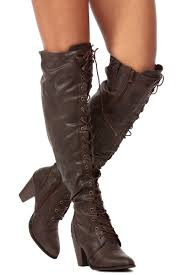 s boots knee high brown brown distressed faux leather knee high lace up chunky boots
