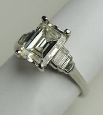 diamond rings carat emerald cut art deco engagement por