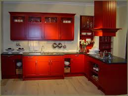 How To Antique Kitchen Cabinets Image Of Kitchen With Red Painted Cabinets Painted Cabinets New