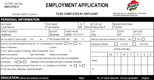 Fast Food Cashier Job Description Resume Pizza Hut Job Application Printable Job Employment Forms