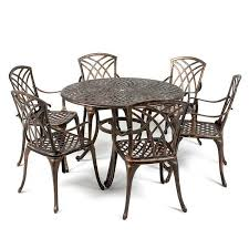 Patio Table 6 Chairs Metal Garden Furniture Set Patio Antique Dining Table 6 Chairs