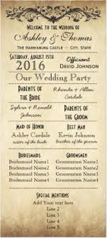 country wedding programs vintage rustic typography wedding programs template for a