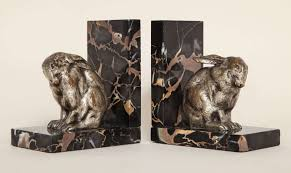 rabbit bookends deco pair of silvered bronze and portor marble bookends at 1stdibs