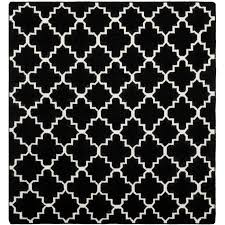 Square Wool Rug Safavieh Moroccan Reversible Dhurrie Black Ivory Contemporary