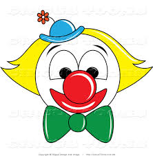 circus vector clipart of a smiling clown face with yellow hair and
