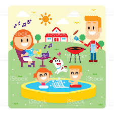 family fun time at the backyard house stock vector art 587798486