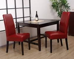 Red Kitchen Table And Chairs Modern Dining Room Furniture Sets With Black Motif Parsons Chairs