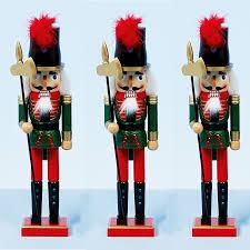Nutcracker Soldiers Christmas Decorations by Christmas Decoration Set Of 3 Grand 38cms Wood Xmas Nutcracker