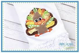 applique corner thanksgiving ribbon turkey applique design
