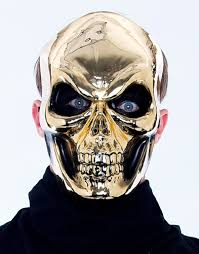Metal Halloween Costumes Mask Skull Gold Metal Maniac