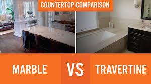 Marble Vs Granite Kitchen Countertops by Marble Vs Travertine Countertop Comparison Youtube