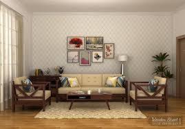 Wooden Sofa Cushions In Bangalore Veneker Wooden Sofa Set 3 1 1 Walnut Finish