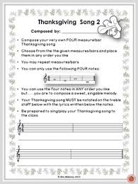 composition activities for thanksgiving thanksgiving songs