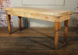 wood butcher block table vintage wooden turned leg large butcher block tall table at 1stdibs