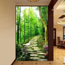 wholesale 3d mural wallpaper custom size bamboo forest small road