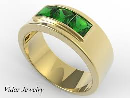 mens rings with images Mens wedding band unique yellow gold ring with emerald by jpg