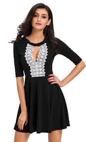 black skater dress crochet lace keyhole stylish black skater dress stella dolls