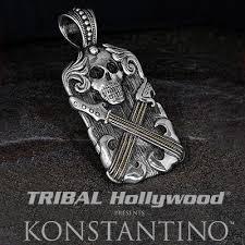 gold mens necklace pendants images Konstantino gold string skull guitar silver necklace pendant jpg