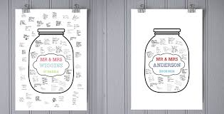 wedding wishes jar guest book poster wish jar personalised poster print in 3 sizes