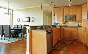 Pine Cabinet Warm Kitchen Design White Cotton Sectional Sofa Golden Pine Wooden