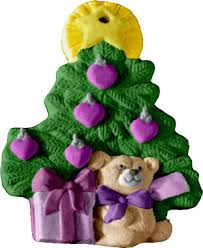 tree with hearts and bear unpainted plaster christmas tree