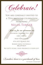 fabulous 75th birthday party invitations with 75th birthday party