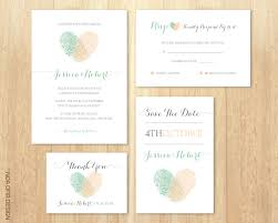 wedding invitation rsvp date wedding invitation set fingerprints peach and green