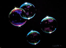 soap bubble colored pencil drawing on black paper by casey neal
