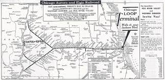 Chicago City Train Map by The Chicago Aurora And Elgin Railroad