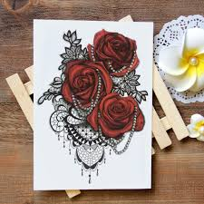 waterproof temporary tattoo sticker lace rose tattoo water