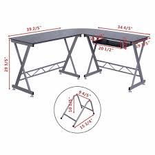 Corner Laptop Desk Computer Desk Pc Glass Top Laptop Table Workstation Corner L Shape