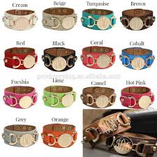 monogrammed cuff bracelet personalized monogram initial grace disc engraved leather cuff